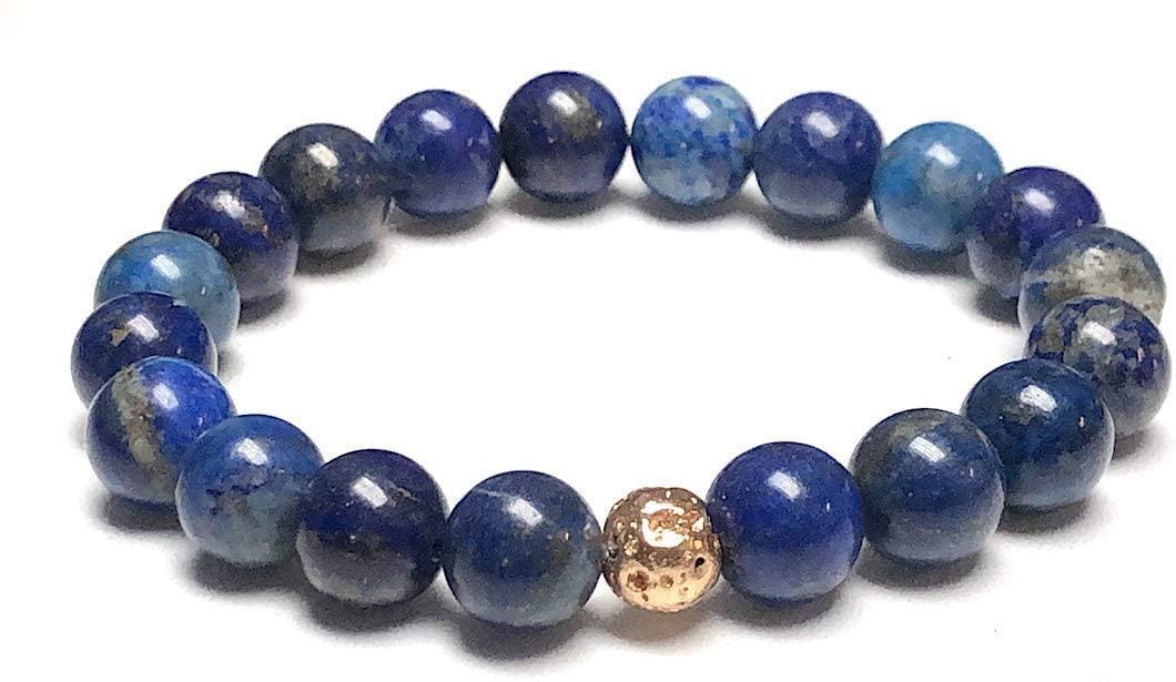 Stunning lapis lazuli bracelet Yoga Jewelry wrist mala Fifth chakra Throat Chakra Big 10 mm unisex stretch bracelet | Energized chakra bracelet | w/zinc alloy gold plated spacers | US Seller (Style-2)