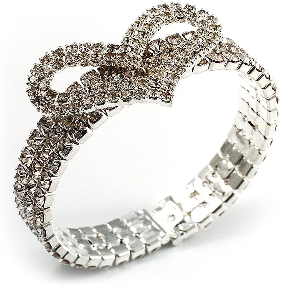 Avalaya Dazzling Swarovski Crystal Heart Flex Bangle Bracelet (Silver Tone)