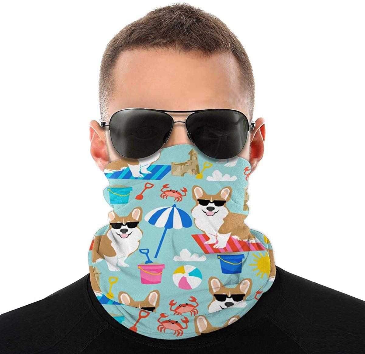 Corgi Face Scarf Neck Gaiter Tube Variety Head Scarf, Multifunctional Bandanas & Balaclava Anti Dust