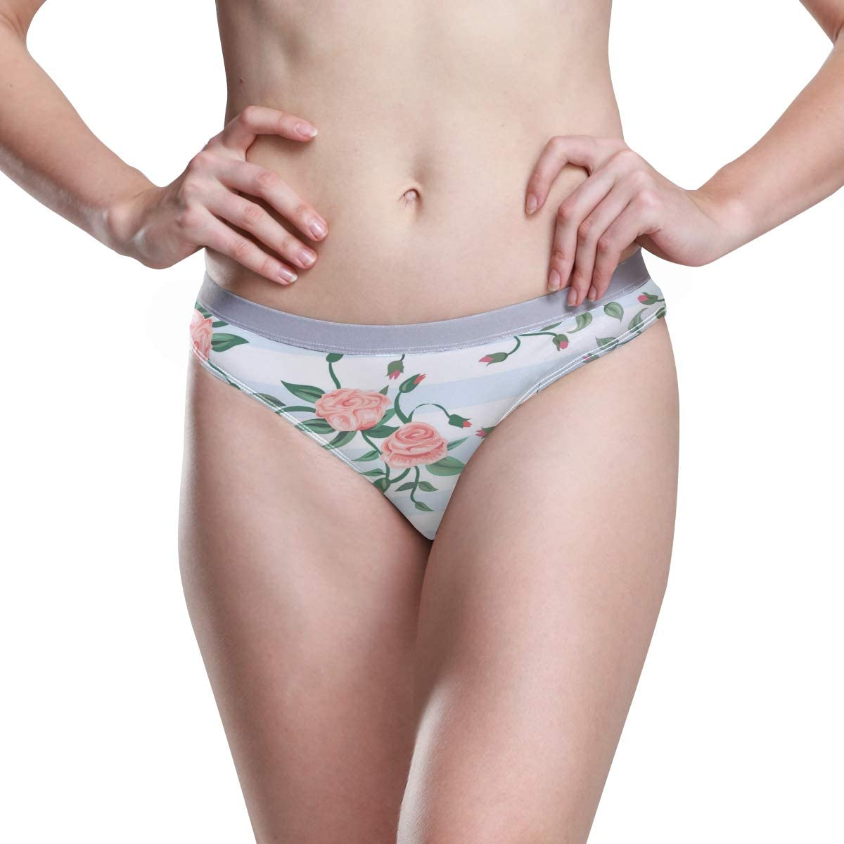 Womens Underwear Hipster Panties Pink Rose Floral Flowers Stripes Fantastic Ladies Hi Cut Bikini Hipster Panty
