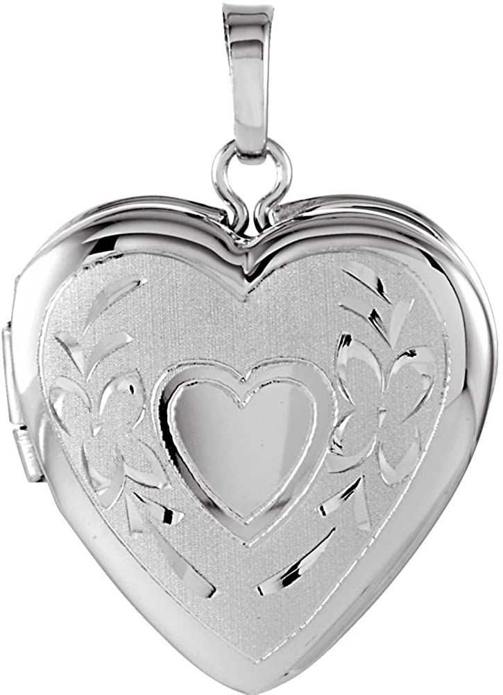 925 Sterling Silver 22.25x16mm Polished Love Heart Shaped Photo Locket Pendant Necklace Jewelry Gifts for Women