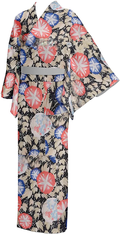 Japan Yukata Kimono Robe Cotton Women Size LL Black Japanese Mt.Fuji