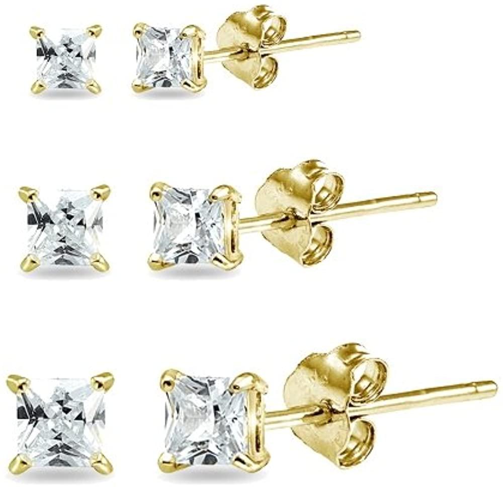 3 Pair Set Sterling Silver Cubic Zirconia Princess-Cut Square Stud Earrings, 2mm 3mm 4mm