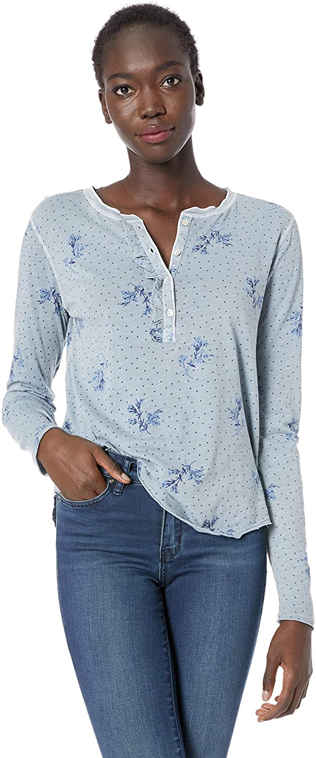 Lucky Brand Women's Washed Ruffle Henley Shirt in Multi