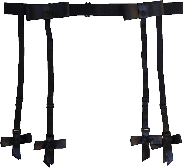 Women Black Simplicity Elasticity 4 Straps Big Bow Metal Buckles Sexy Garter Belt for Stockings S510