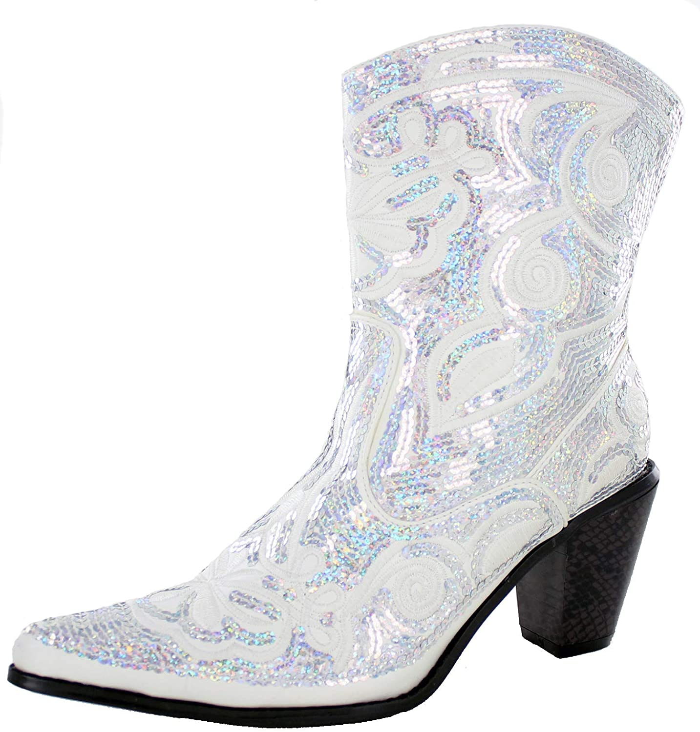 Helens Heart Women's Sparkle Sequin Bling Short Western Cowgirl Boots Assorted Colors LB-0290-11