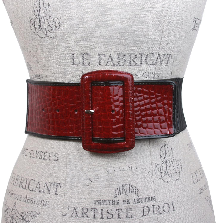 Ladies High Waist Trimmed Edge Croco Print Patent Leather Fashion Stretch Belt