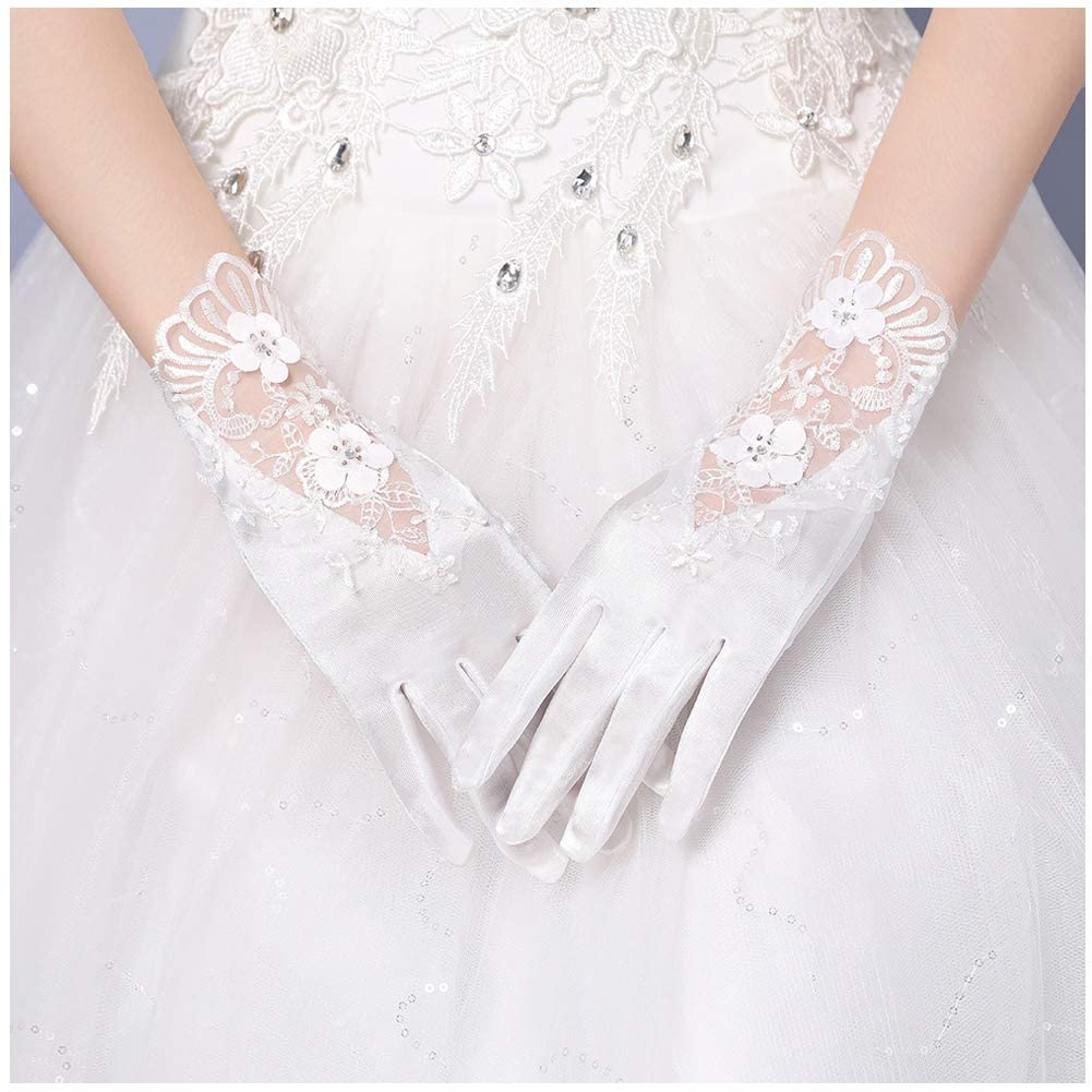 Michealboy Bridal Womens Wrist Length Formal Satin Gloves for Wedding