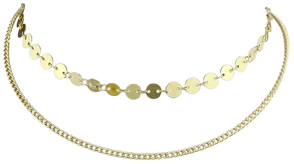 Feelontop Bohemian Women Style Gold Color Sex Sequins Chain Necklace Double Layers Choker Collar Design
