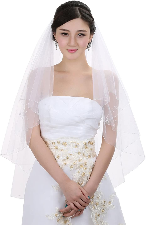 SAMKY 2T 2 Tier Crystals Floral Motifs Beaded Edge Wedding Veil