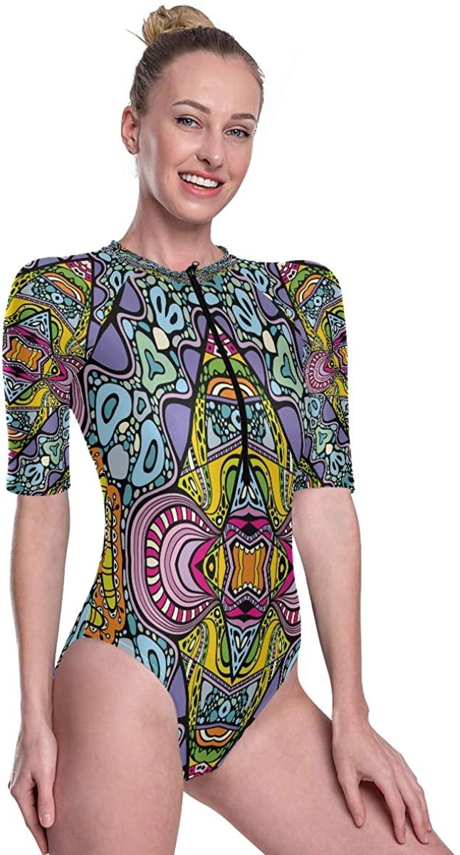 Godfery Gabriel Women's One Piece Short Sleeve Rashguard Surf Swimsuit Special Mandala Bathing Suit