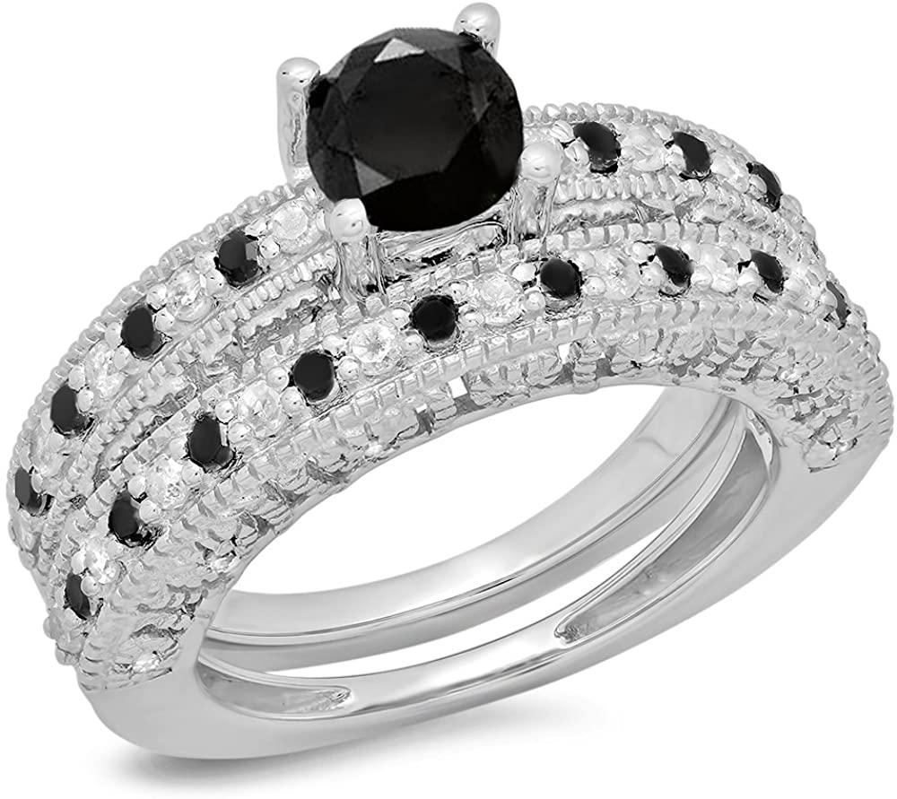 Dazzlingrock Collection 1.50 Carat (ctw) Round Black & White Diamond Bridal Vintage Engagement Ring Set 1 1/2 CT, Sterling Silver