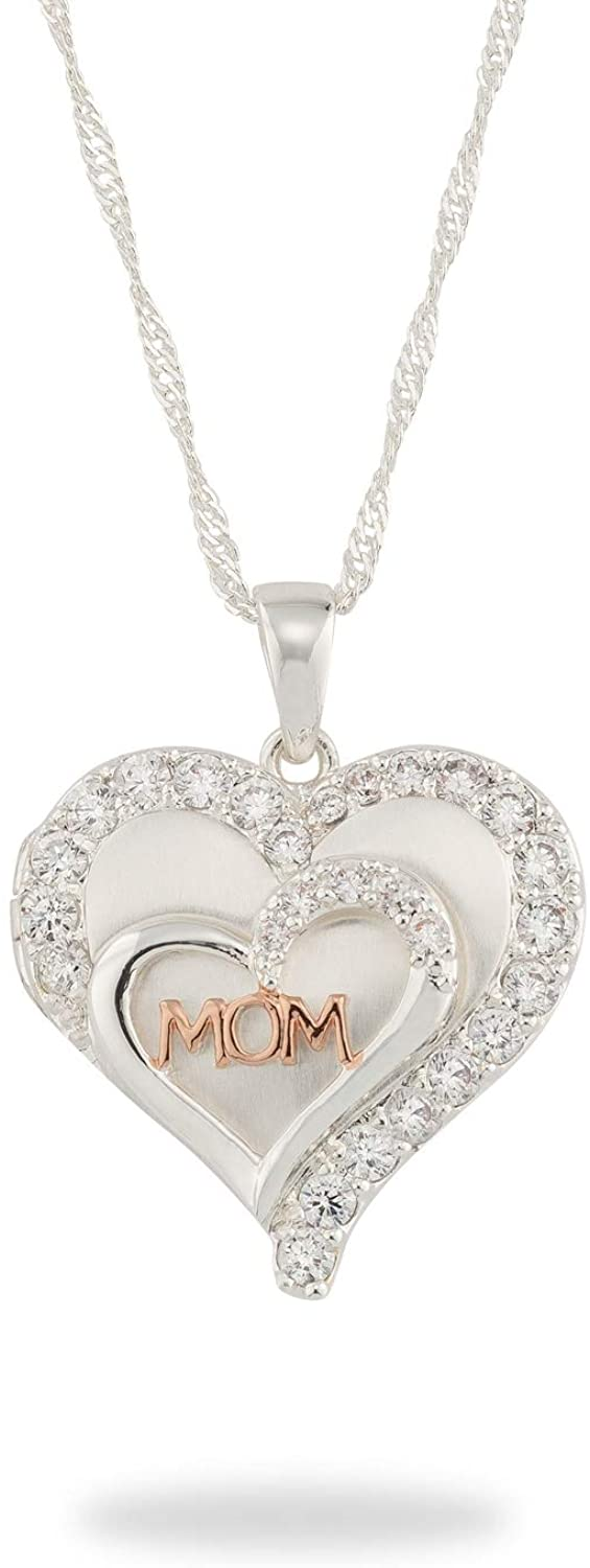 Things Remembered Personalized Silver and Rose Gold Tone Mom Double Heart Locket with Engraving Included