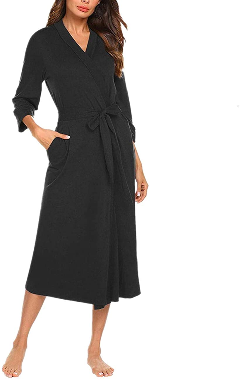 Missfamo Womens 3/4 Sleeves Cotton Kimono Robes Ladies Soft Lightweight Sleepwear with Pocket
