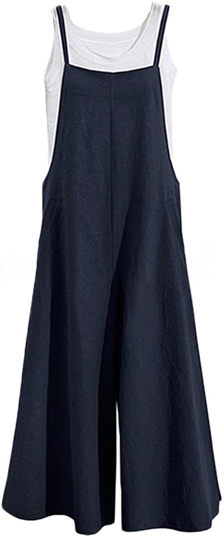 Unifizz Women' Long Loose Casual Solid Color Jumpsuits Wide Leg Overalls