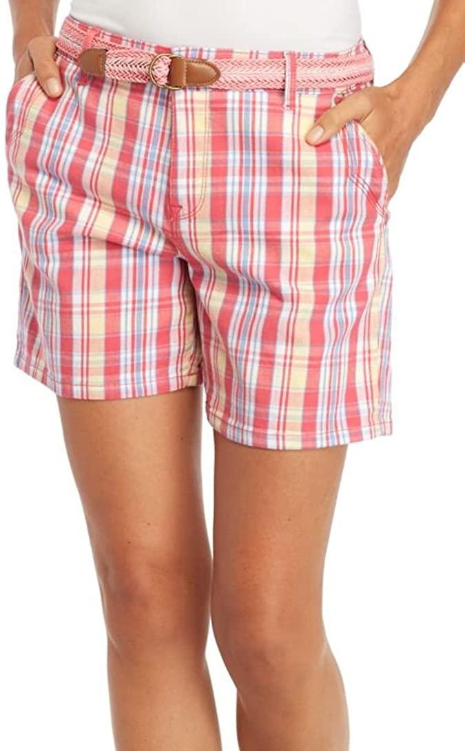 Gloria Vanderbilt Womens Yvonne Plaid Shorts 10 Coral punch pink/multi