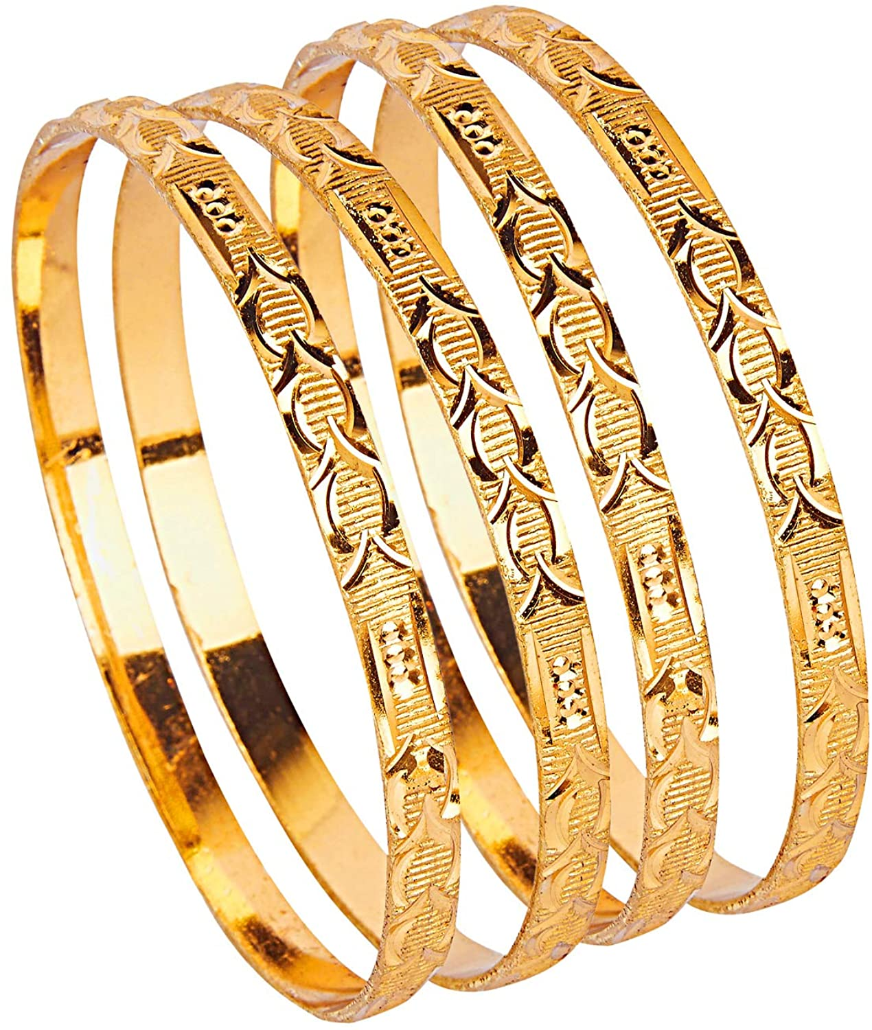 Bodha 24K Fine Gold Plated Traditional Indian Bollywood Designer Bangles for Women (Pack of 4) SJ_3274