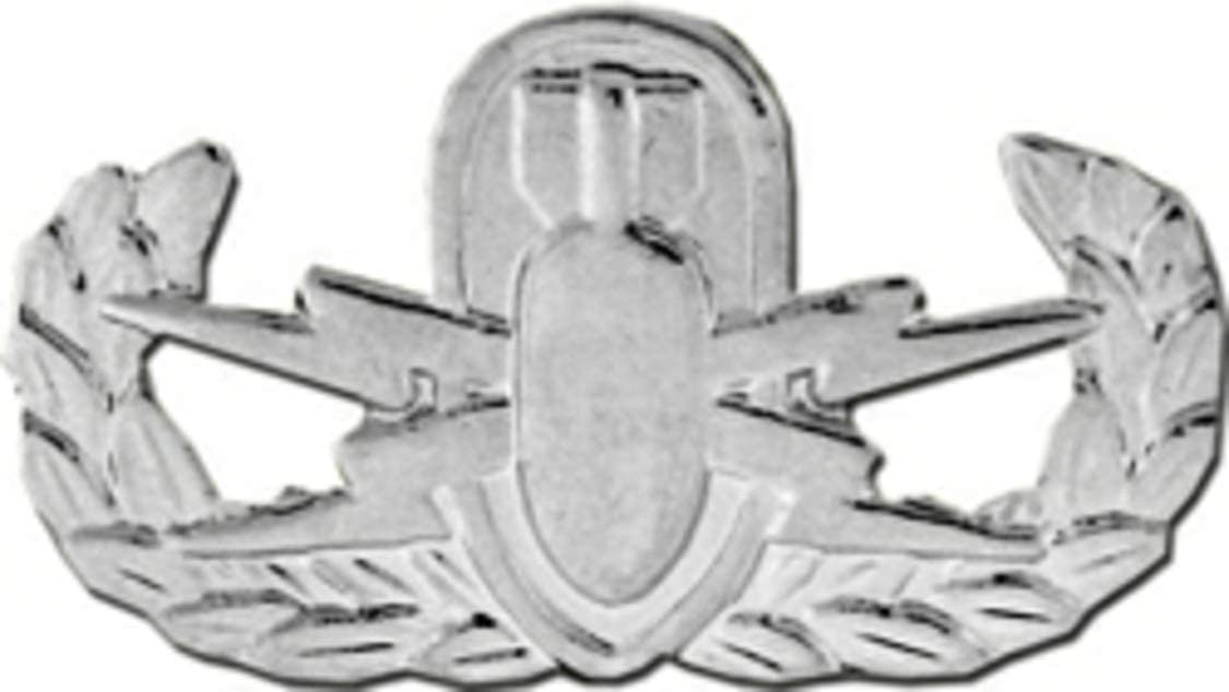 Explosive Ordnance Disposal (EOD) Basic Silver Finish Pin or Hat Pin