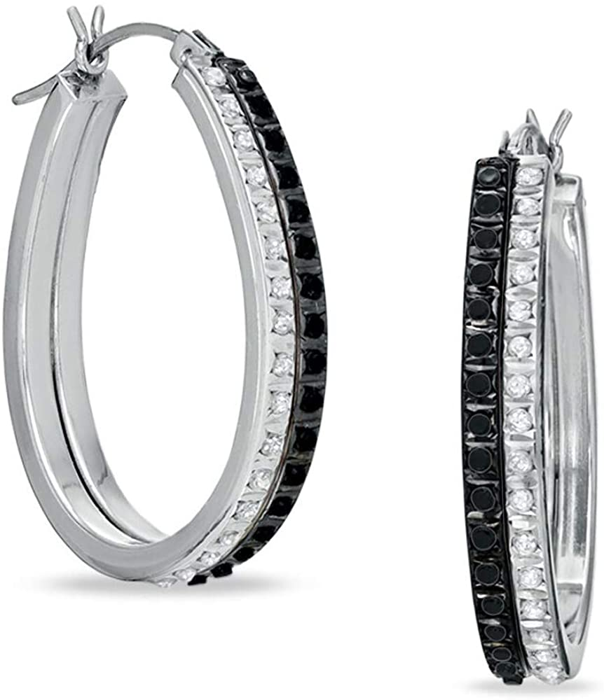 HN Jewels Round Cut Black & Clear D/VVS1 Diamond Double Pear-Shaped Hoops For Womens & Girls In 925 Sterling Silver
