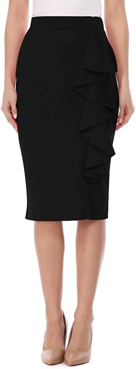 FashionJOA Womens High Waist Elastic Ruffled Detail Solid Pencil Midi Skirt S-3XL