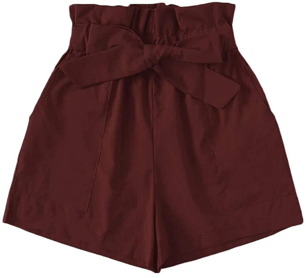 HENWERD Women Bowknot Tie Waist Solid Summer Casual Shorts with Pockets Beach Shorts