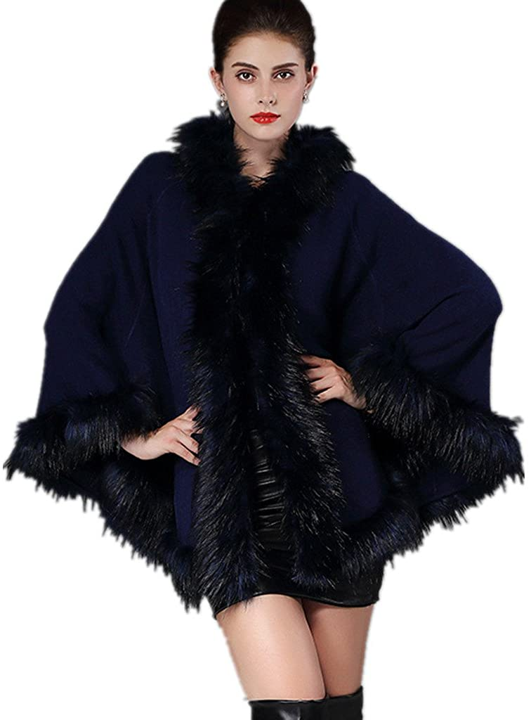 Faux Fur Shawl Women Wraps Cloak Coat Ladies Faux Prickly Hair Fur Collar Hats Knit Cardigan Jacket