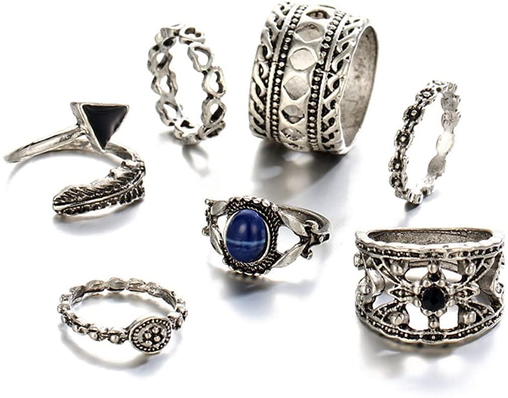 YAZILIND Women Tibetan Silver Boho Vintage Turquoise Carving Hollow Flower Joint Knuckle Finger Ring Sets Retro Stackable Ring