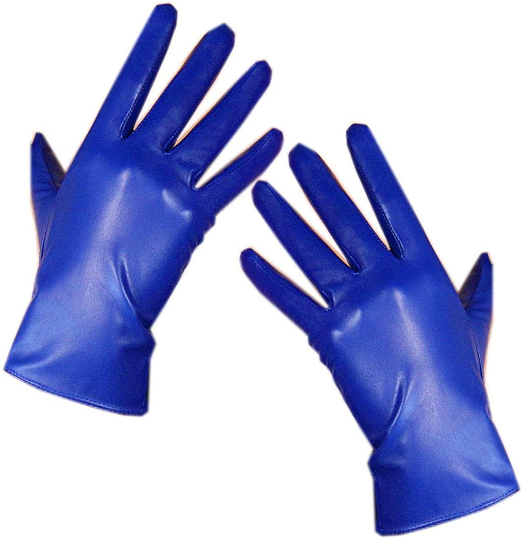 Women REAL LEATHER GLOVES Wrist Short Lambskin Sheepskin Blue