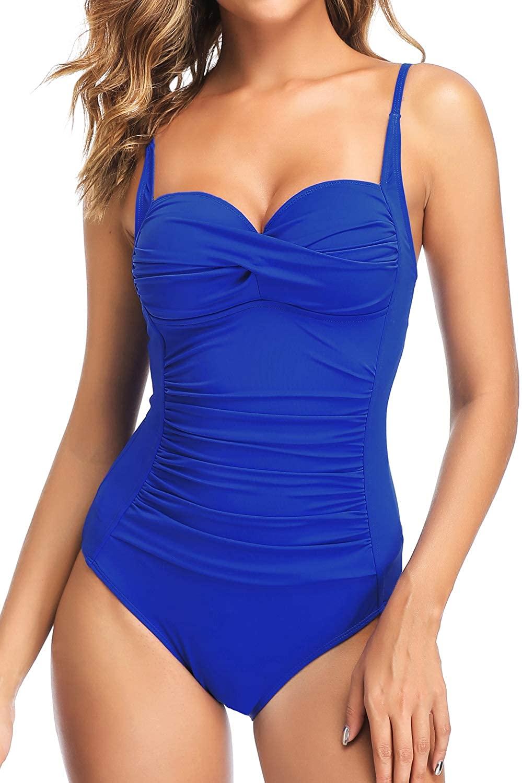 PERONA Retro Swimsuit Women's Ruched Vintage Swimwear Tummy Control Swimsuit Push Up One Piece Bathing Suit