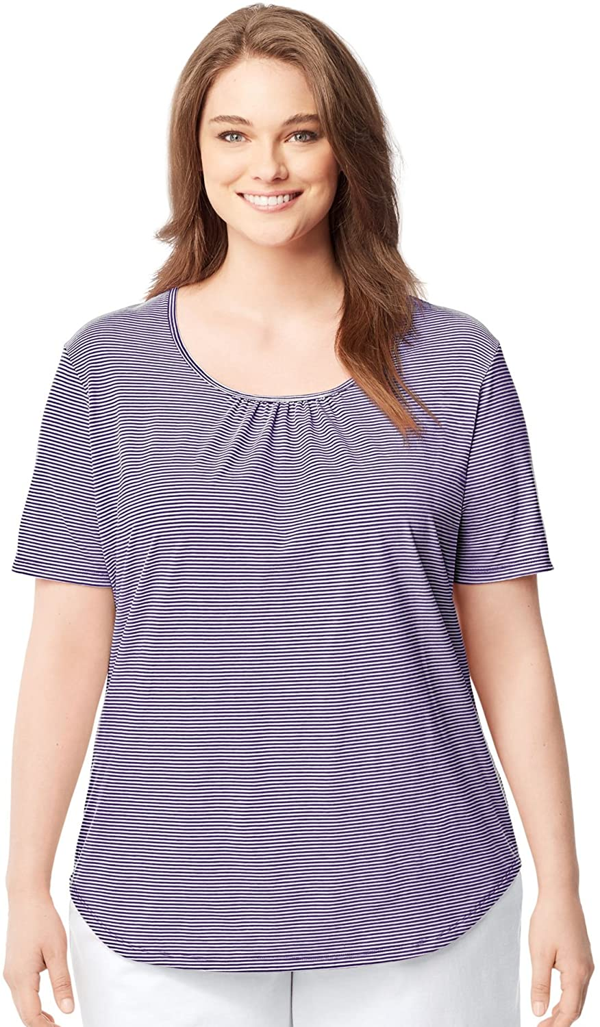 JUST MY SIZE Womens Shirred and Striped Scoop-Neck Jersey Tee, 5X