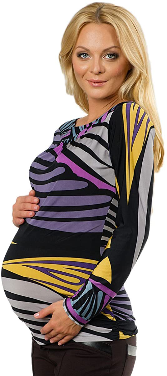Olian Maternity Women's Purple Abstract Print Long Sleeve Tunic X-Small Black