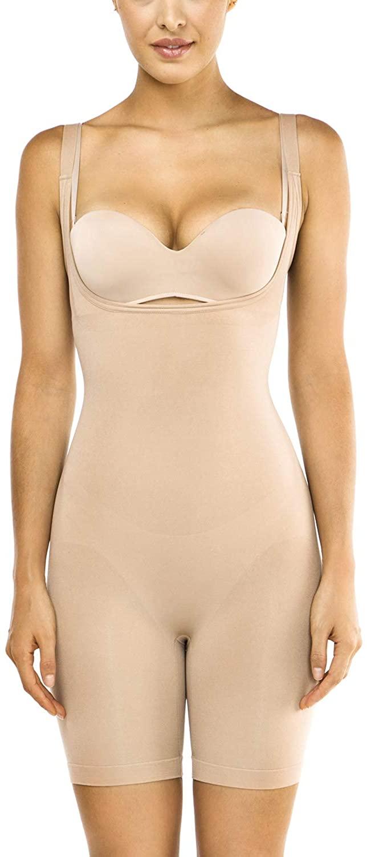 Mayuber Seamless Bodysuit Open-Bust Tummy Control Shapewear Smooth Underbust Mid Thigh Full Body Shaper for Women