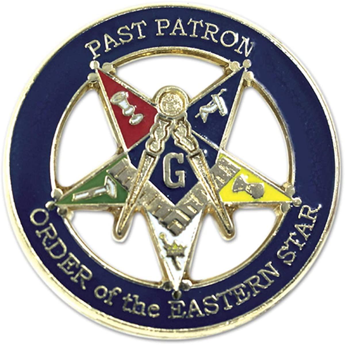 Past Patron Order of The Eastern Star Round Masonic Lapel Pin - [Blue & Gold][1'' Diameter]