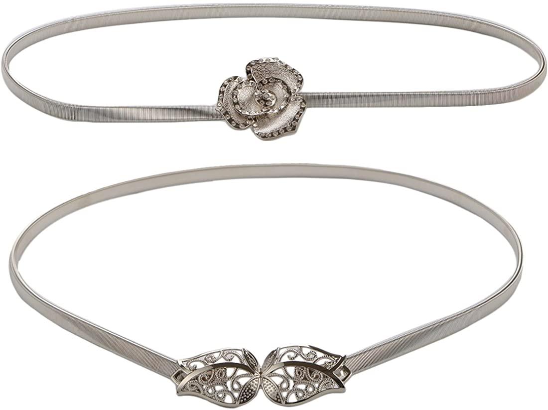 kilofly 2pc Women Elegant Silver Metal Thin Stretch Clasp Skinny Belt Waist Band