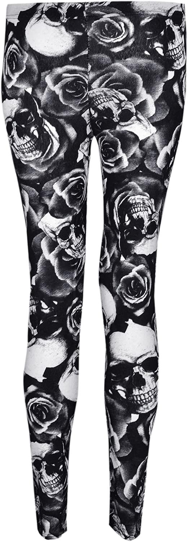 Womens Printed Viscose Leggings (4/6 (Uk S/M), Skull Rose Print)