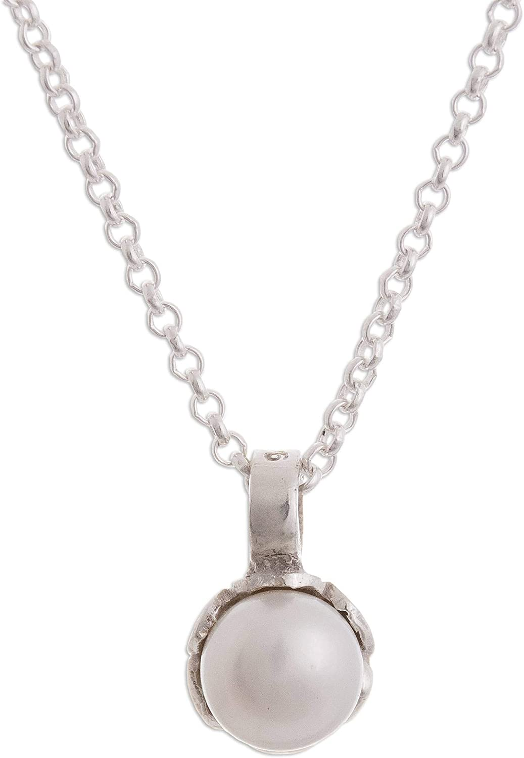 NOVICA White Cultured Freshwater Pearl .925 Silver Necklace, 17.75