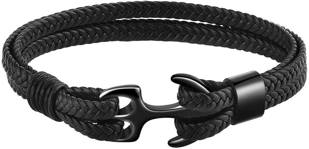 Emibele Bracelet for Women, Sturdy Cowhide Leather Bracelet, Multilayer Vintage Anchor Bracelet Wrap Cuff - Black with Black Anchor