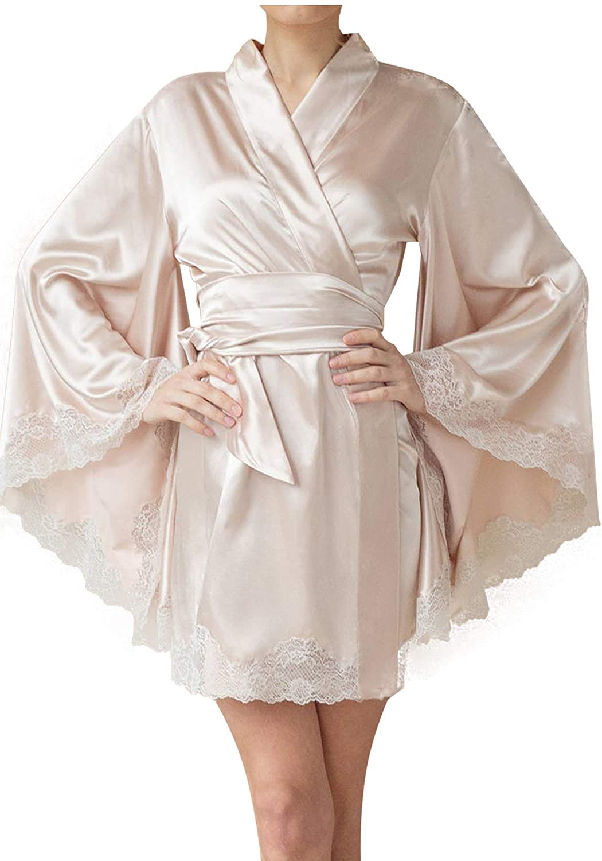 BathGown Women's Satin Lace Robes Short Kimono Bathrobes for Bride Bridesmaids Wedding Sleepwear