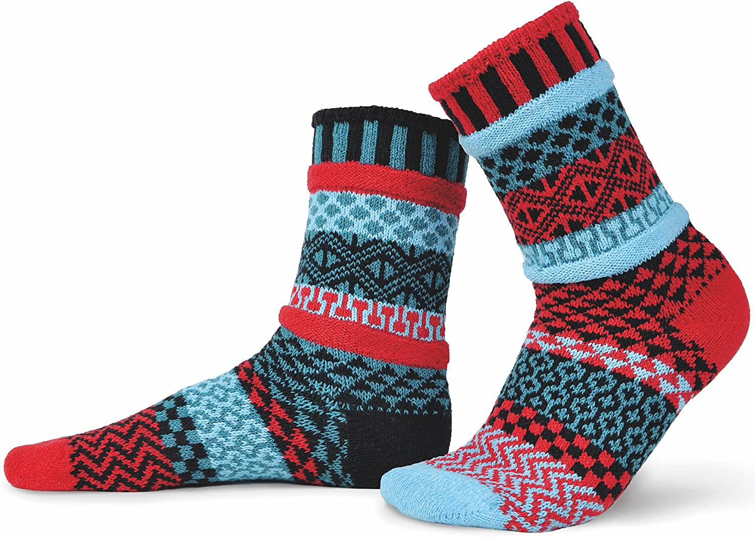 Solmate Socks - Mismatched Crew Socks; Made in USA, Mars XL