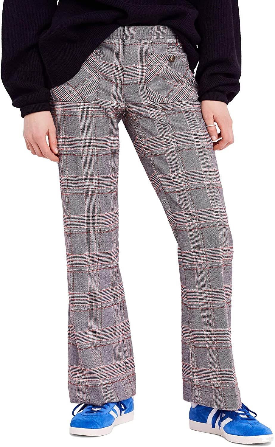 Free People Womens Plaid Flare Trouser Pants