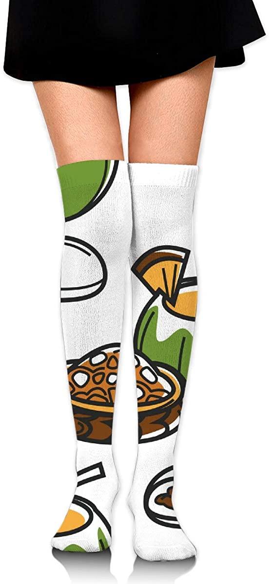 Dress Socks Hawaii Food Coconut Cocktail Long Knee Hose Hold-Up Stockings
