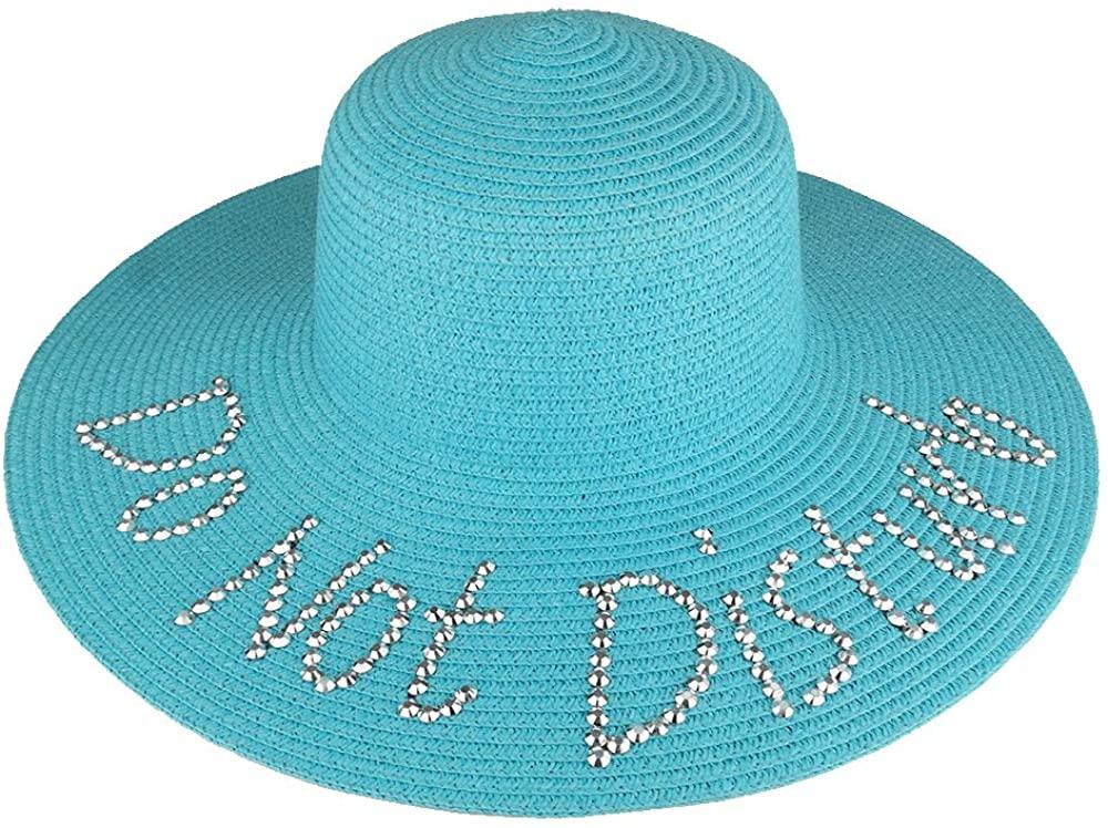 Trendy Apparel Shop Do Not Disturb Studded Ladies Large Brim Summer Straw Floppy Hat