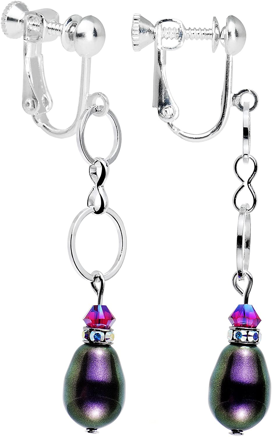 Body Candy Handcrafted Silver Plated Purple Circles Clip On Earrings Created with Swarovski Crystals