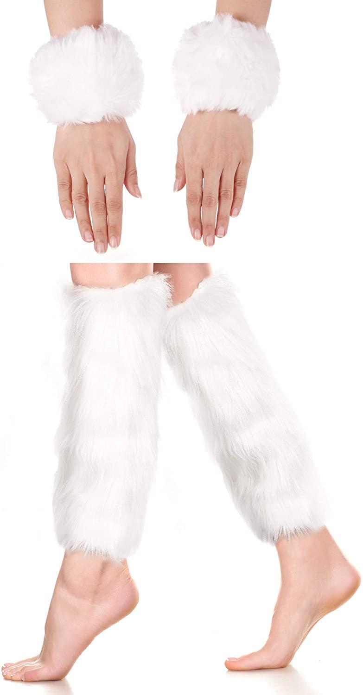 2 Pairs Faux Fur Cuffs Furry Long Leg Warmer Wrist Cuff Warmer Boot Cuff