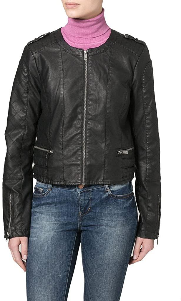 Womens Leather Biker Motorcycle Coat Slim Fit Jackets LTW014
