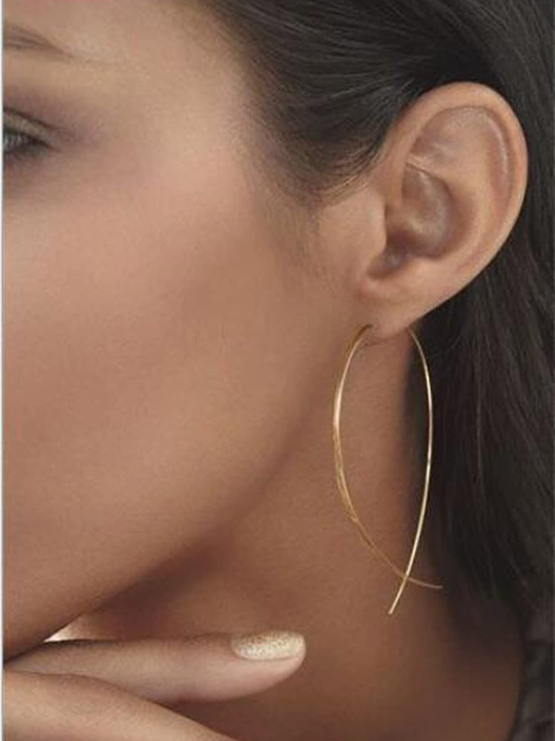 LittleB Simple Threader Earring Charm Geometric Long Line Ear Student for Women and Girls. (Gold)