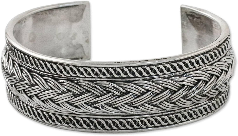 NOVICA .925 Sterling Silver Cuff Bracelet 'Woven Way'