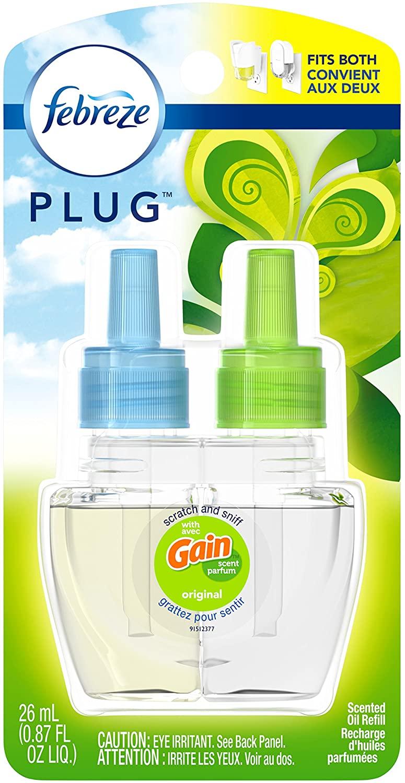 Febreze Plug in Air Freshener Scented Oil Refill, Gain Original Scent