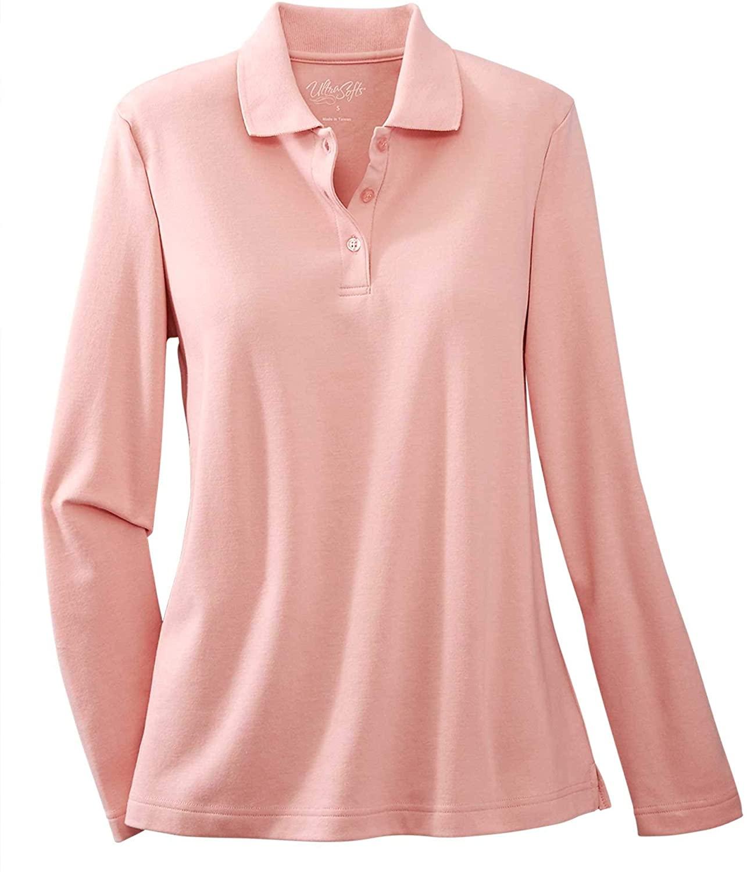 UltraSofts Long Sleeve Polo, Powder Pink, 1X