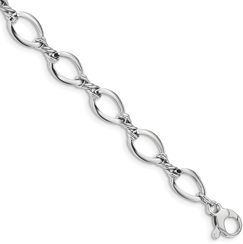Diamond2Deal Solid 14k White Gold Fancy Link Lobster Bracelet 7.5inch for Women